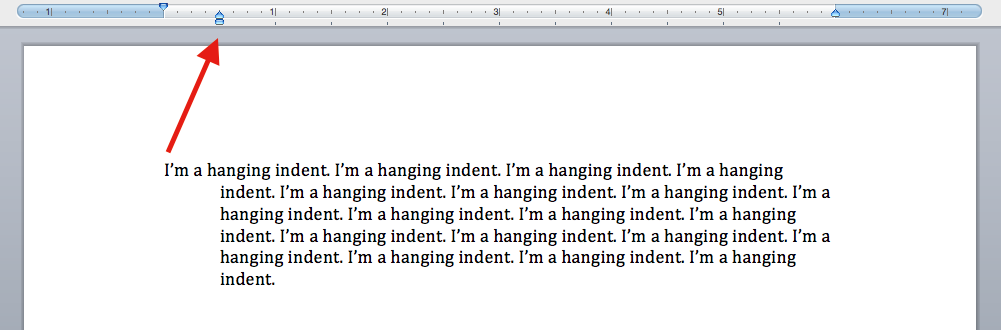 what does a hanging indent look like